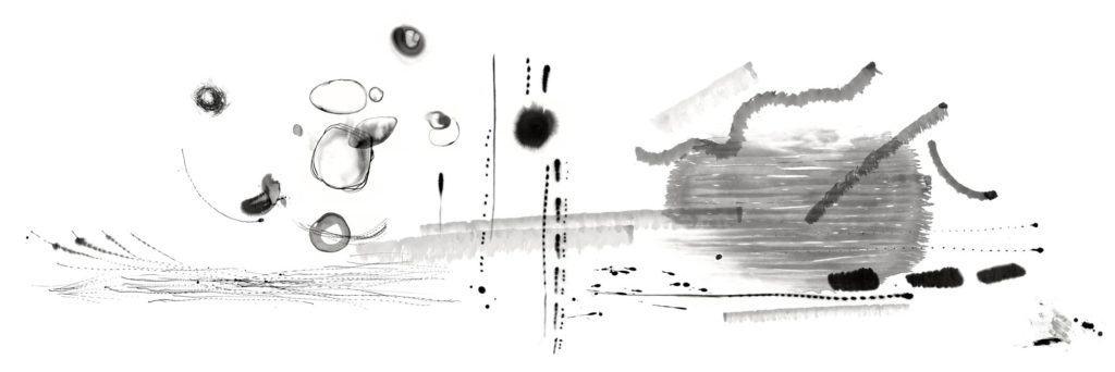 """""""Freie Partitur"""", 2018, Originalgrafik, 300 x 100 cm"""